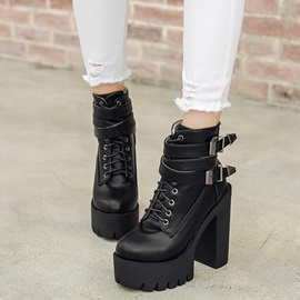 Black PU Lugz Sole Chunky Heel Booties
