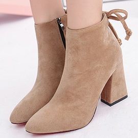 Solid Color Suede Block Heel Booties