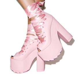 PU Peep-Toe Lace-Up Booties