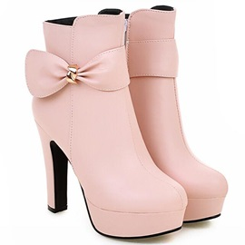 PU Bowtie Zippered Ankle Boots