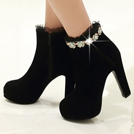 Trimmed Lace Diamond Platform Ankle Boots