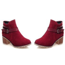 Suede ed Chunky Heel Short Boots