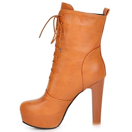 Solid Color PU Platform Lace-Up Booties