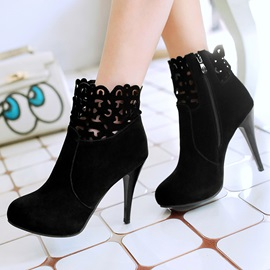 Suede Cut-Out Zippered Ankle Boots