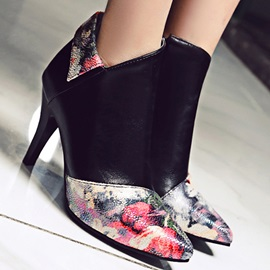 Floral Printed Zippered Booties