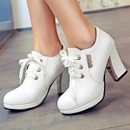 Solid Color PU Plain Toe Ankle Boots
