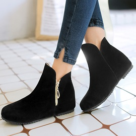 Faux Leather Plain Toe Booties