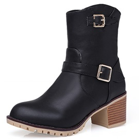 PU Buckles Chunky Heel Zippered Booties