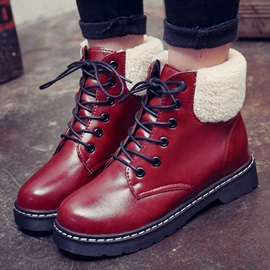 British PU Patchwork Lace-Up Martin Boots