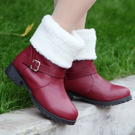 Solid Color PU Round Toe Fold Over Booties