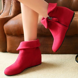 Solid Color Elevator Heel Zippered Booties