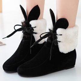 Cartoon Elevator Heel Lace-Up Booties