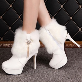 Faux Fur PU Zippered Platform Booties