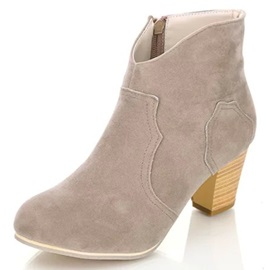Suede Side Zipper Chunky Heel Booties