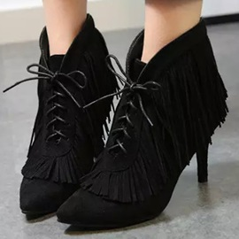 Suede Tassels Lace-Up Ankle Boots