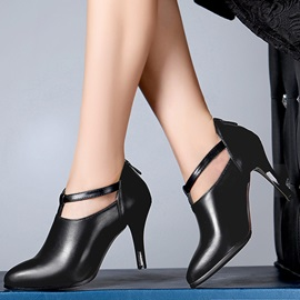 Solid Color Faux Leather Back-Zip Ankle Boots