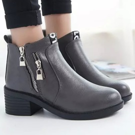 PU Zippered Round Toe Martin Boots
