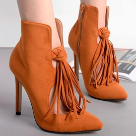 Suede Tassels Cut-Out Zippered Booties