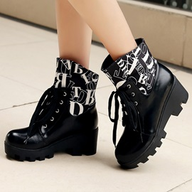 Letters Printed Lugz Sole Chunky Heel Booties