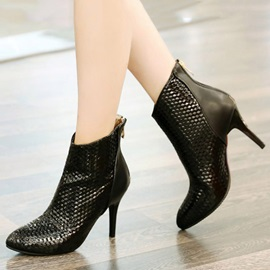 Embossed PU Back-Zip Booties