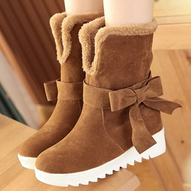 Suede Bowknots Round Toe Booties