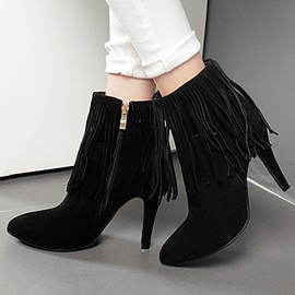 Suede Tassels Zippered Booties