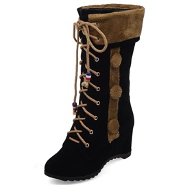 Suede Lace-Up Thread Mid-Calf Fashion Boots