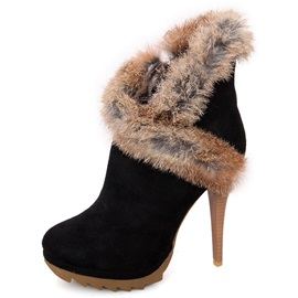 Faux Fur Purfle Zippered Ankle Boots