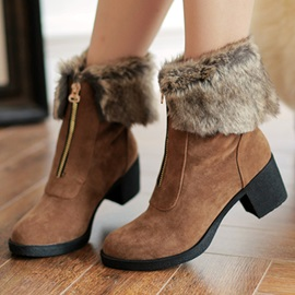 Faux Fur Front-Zip Booties
