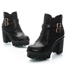 Faux Leather Chunky Heel Ankle Boots