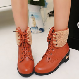 PU Lace-Up Front Wedge Heel Martin Boots