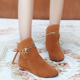 Faux Suede  Lace-Up Back Ankle Boots