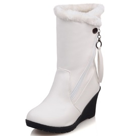 PU Side Zipper Flocking Wedge Heel Snow Boots