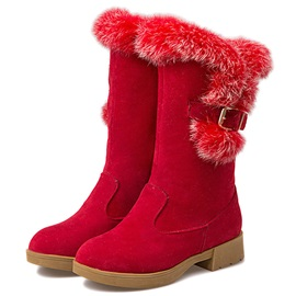 PU Slip-On Flocking Flat Snow Boots