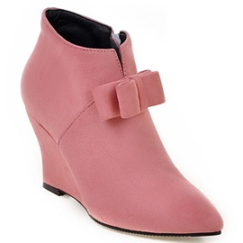 PU Side Zipper Color Wedge Heel Boots