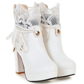 PU Lace Platform Lace-Up Ankle Boots