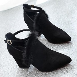 Suede Thread Pointed Toe Fashion Boots