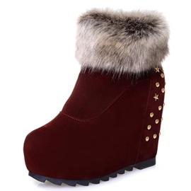 Suede Side Zipper Rivet Thread Snow Boots