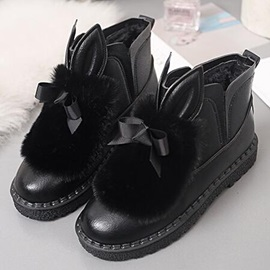 Animal PU Slip-On Thread Flat Boots
