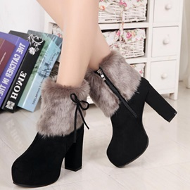 PU Side Zipper Platform Thread Snow Boots