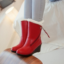 PU Slip-On Zipper Thread Wedge Heel Ankle Boots