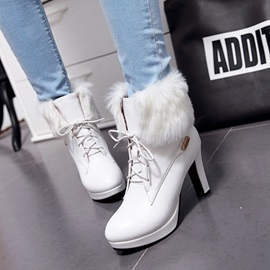 PU 3D Platform Lace-Up Front Ankle Boots