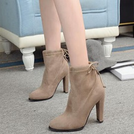 Suede Lace-Up Back Thread Block Heel Fashion Boots