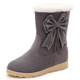 Suede Rhinestone Slip-On Thread Snow Boots