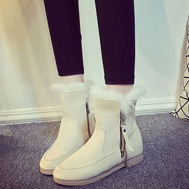 PU Side Zipper Thread Fashion Snow Boots