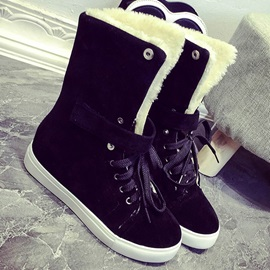 PU Purfle Lace-Up Front Thread Snow Boots