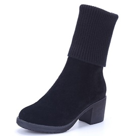 Suede Side Zipper Thread Mid-Calf Boots