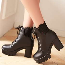 PU Lace Lace-Up Front Thread Block Heel Boots