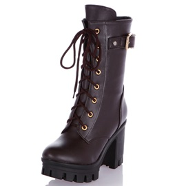 PU Lace-Up Front Block Heel Women's Martin Boots