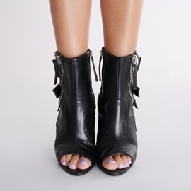 PU Side Zipper Button Stiletto Heel Ankle Boots